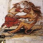 Simson ja jalopeura. Kuva seurakunnan kuvagalleriasta